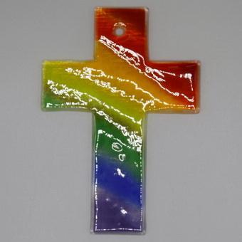 Glaskreuz Regenbogen